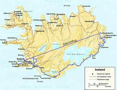 Routenverlauf Island